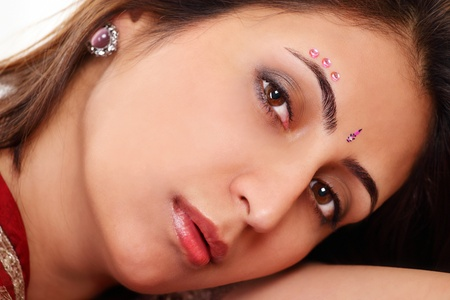 Beautiful indian woman face closeup Stock Photo - 14283312