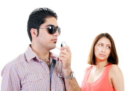 Private bodyguard with woman client in background Stock Photo - 14283317