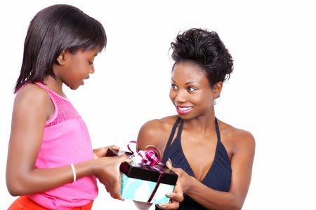 child s: Happy mother gets a gift from little daughter