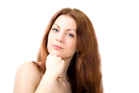 Pretty young woman looking with concentration Stock Photo - 14310958