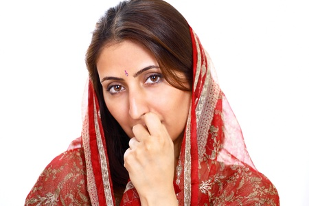 Indian lady with thoughtful expression photo