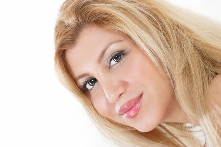 pretty woman face: Pretty woman face closeup looking to side with smile