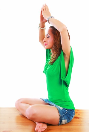 Yoga prayer pretty woman in meditating pose Stock Photo - 14569688