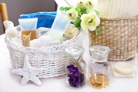 arrangment: Body care products and toiletries on display