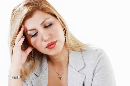 sincere girl: Worrying businesswoman Stock Photo