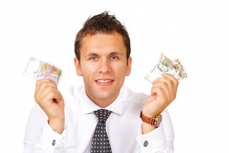 Businessman holding money Stock Photo - 14875547