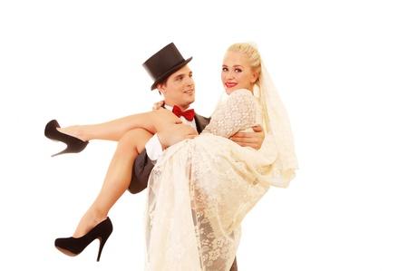 net getrouwd: Net getrouwd paar, bruidegom dragen mooie bruid
