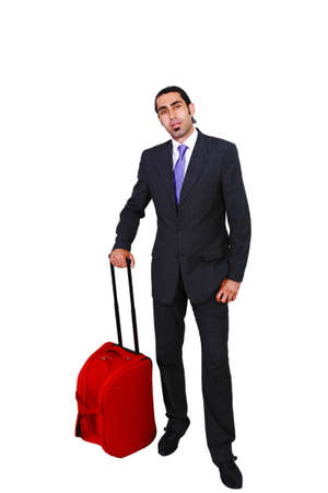 business traveler: Business traveler with rollaway bag, in full length
