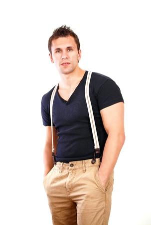 khaki pants: Macho guy in casual style