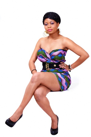 voluptuous women: African lady in full length seated pose