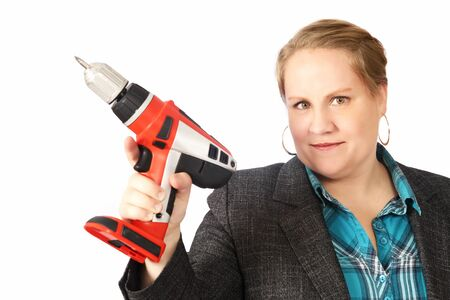 odd jobs: Handy housewife with electric drill