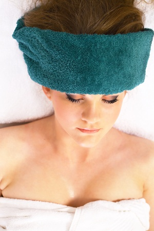 Spa therapy girl relaxing eyes closed Stock Photo - 16165602