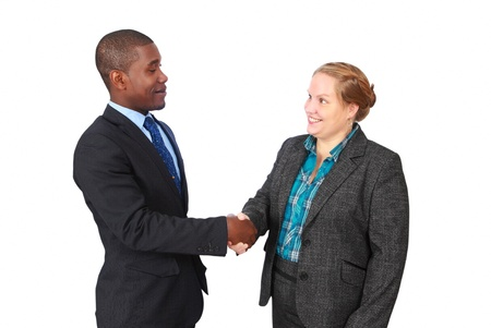 businessmen shaking hands: Handshake, friendly smiling man and woman