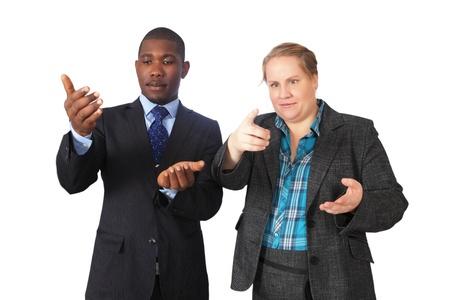 enact: Business people making random gestures Stock Photo