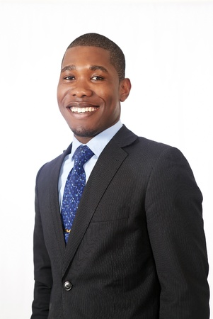 Smiling african man in business suit photo