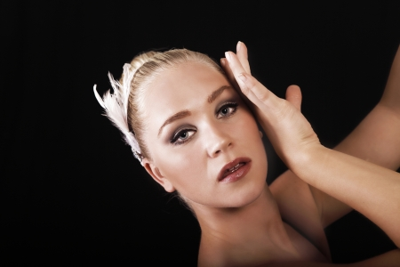 Beautiful ballet dancer, face closeup Stock Photo - 16757036