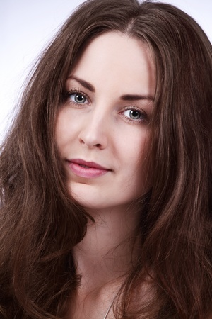 Face portrait of a beautiful girl with long brown hair Stock Photo - 17008180