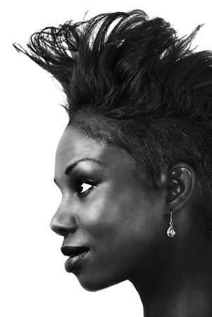 Woman hair fashion, a black and white profile photo