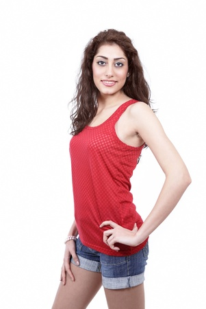 Smiling young woman casual fashion photo
