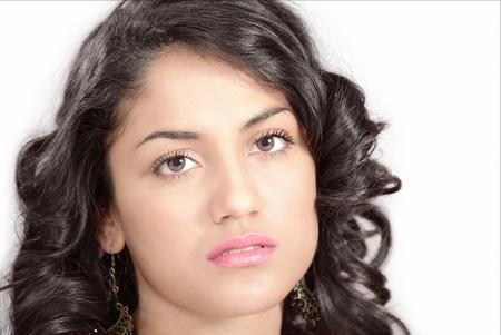 worried woman: Sad young woman with pensive look, face closeup
