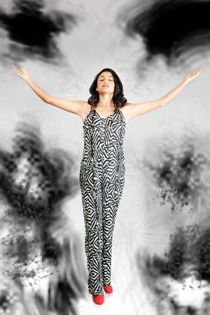 turbulent: Modern woman on turbulent religious path Stock Photo