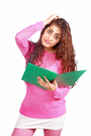 Girl s confusion reading file Stock Photo - 17333224