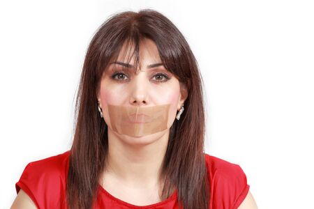 Woman mouth-taped Stock Photo - 17329594