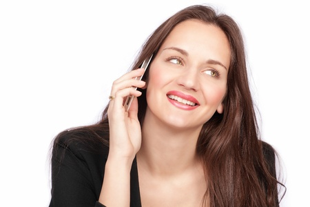 phone conversation: Pretty business girl has a phone conversation