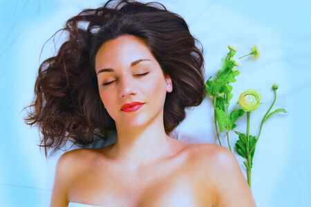 morgue: Beautiful young woman laid to rest Stock Photo