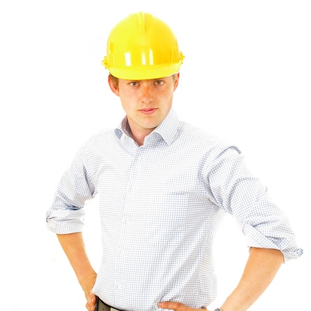 overseer: Construction supervisor in hard hat Stock Photo