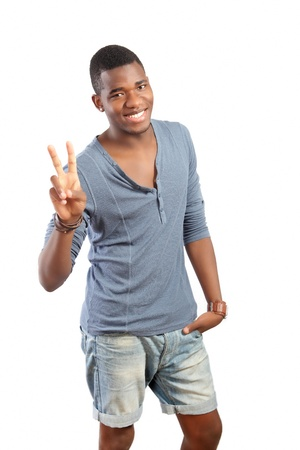 african american male: Peace gesture, smiling young man