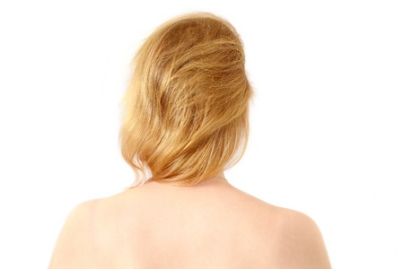 hair back: Rear view head and back of blond caucasian woman Stock Photo