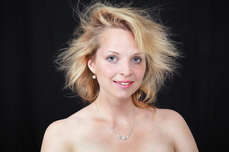 messy hairstyle: Pretty woman with messy morning hair