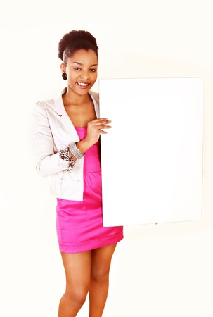Beautiful ethnic lady holding message board photo