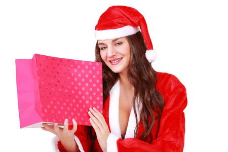 traditon: Pretty Santa with your Christmas gift Stock Photo