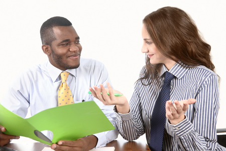 chitchat: Office chit-chat, pair of workers social conversation