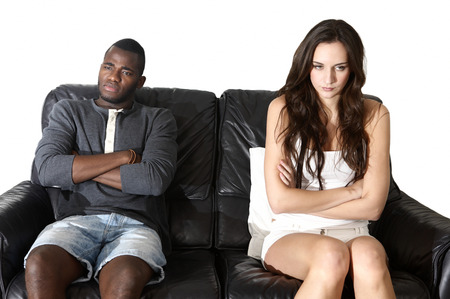 brooding: Angry couple emotions, multi ethnic man woman