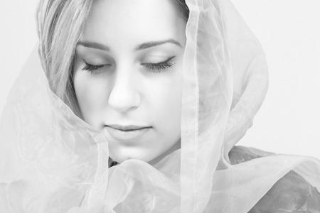 Woman sensitive emotions, monochrome face closeup Stock Photo
