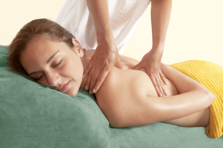 alternative therapies: Chiropractic massage and body therapy Stock Photo