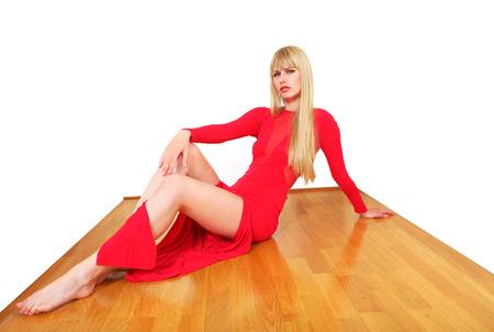 polished wood: Modello grazioso mostra pavimento in legno lucido