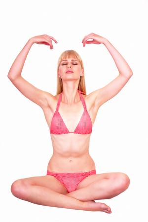 pranayama: Young woman practicing Pranayama Yoga breathing