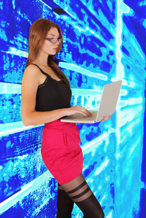 Young woman on technology stream with laptop
