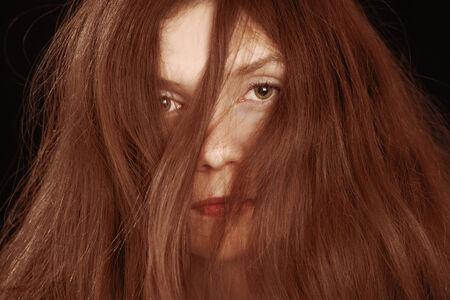 messy hair: Woman hair mess, a horizontal face closeup Stock Photo