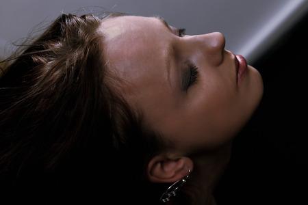 ojos tristes: Depresión Mujer, un retrato de la cara