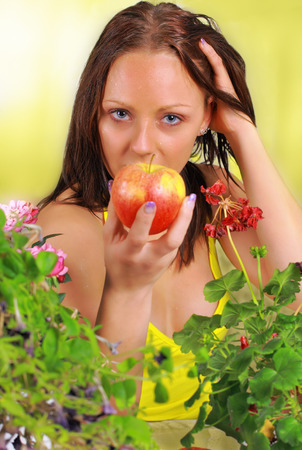 Girl with apple, portrait of a modern day Eve photo