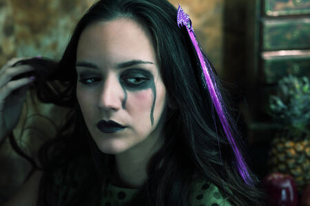 gothic woman: Halloween witch, a horizontal portrait