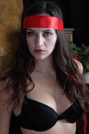 red bra: Woman, beautiful sensual look in head band and bra Stock Photo