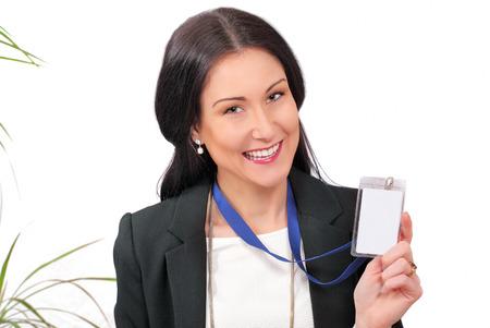 delegar: Delegado de negocio feliz que muestra su tarjeta de identificaci�n