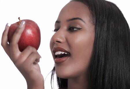 native american girl: Pretty girl and her apple Stock Photo