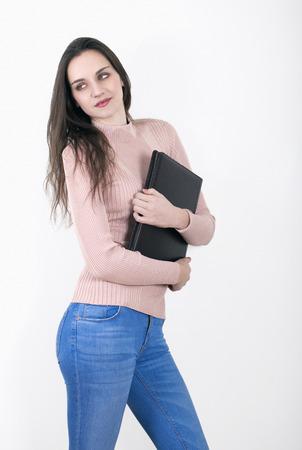 trainee: Cute business apprentice or office trainee holding folder